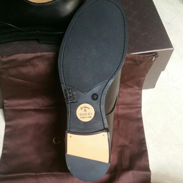 8d3ead365 BNIB Authentic Gucci Mens Black Leather Formal Shoes (Size 10), Luxury,  Apparel on Carousell