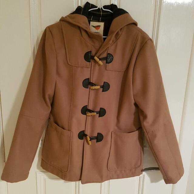 Caramel/camel Quality Coat Jacket With Hood