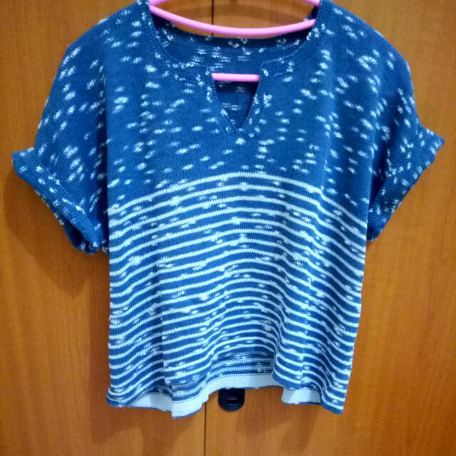 Crop-T Blue Knit
