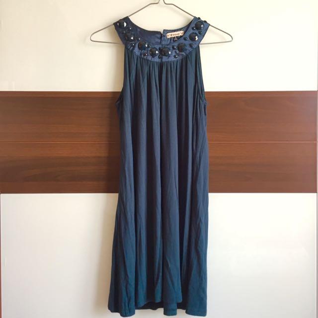 美國Forever21寶石黑綠色洋裝連身裙宴會跑趴裝