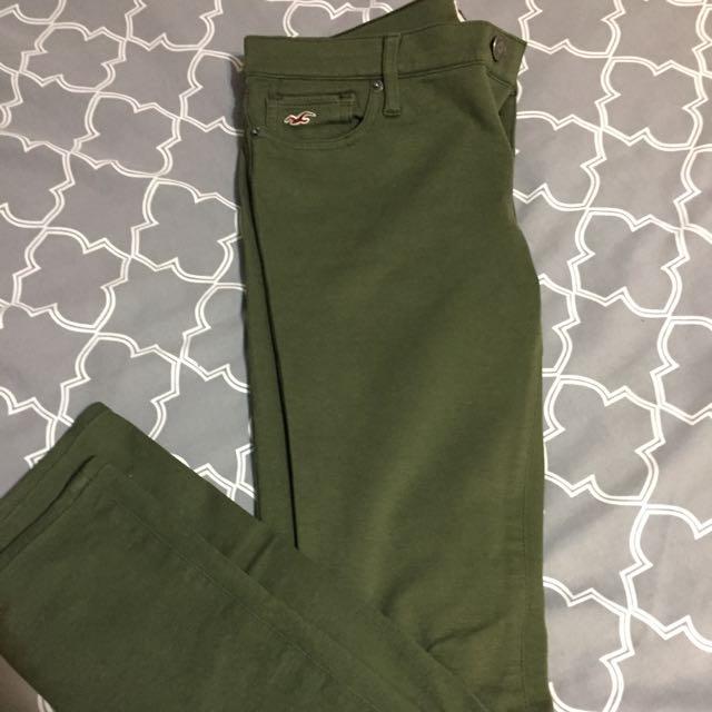 Green Stretch Hollister Pants (size 3)