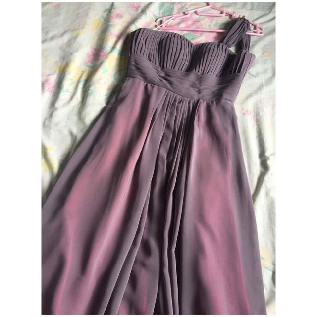 Long Gray Gown with Pink Lining