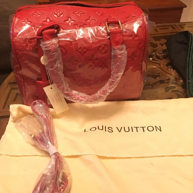 LOUIS VUITTON red bowling bag
