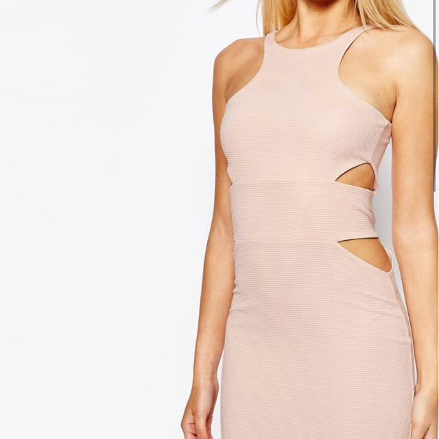 MISSGUIDED BODYCON NUDE DRESS size M