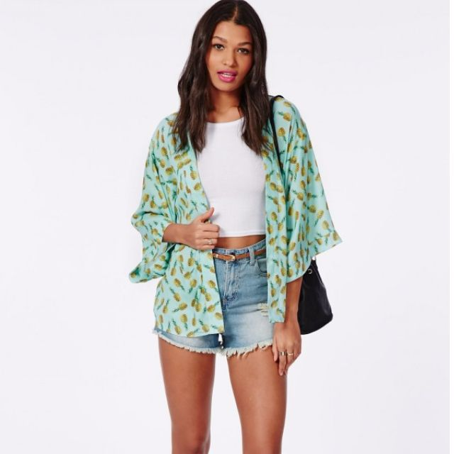 Missguided Pineapple print Kimono