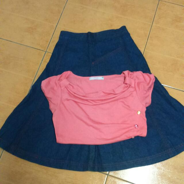 MSE Pink Blouse + Denim Skirt