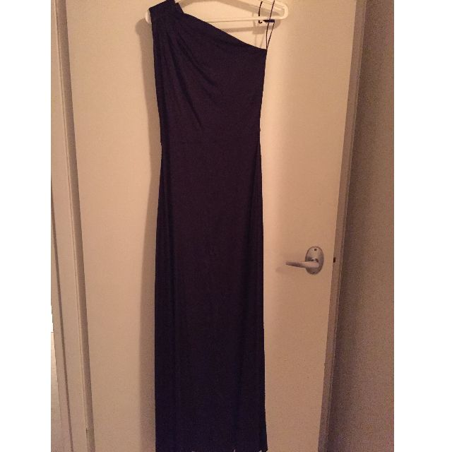 One shoulder, Long Formal/Bridesmaid Dress, Purple Silk, Size 6 & Size 14