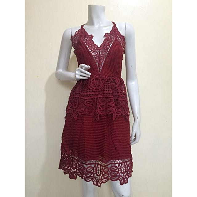 Self Portrait Inspired Lace Trimmed Peplum Dress In Red
