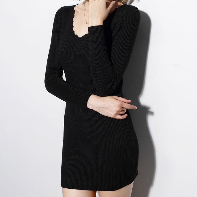 Slim Tight Sweater Dress BN With Tag Black Sexy. Dating Club Party ... 8fe087361