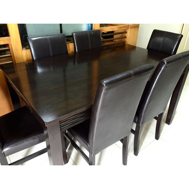 Solid Wood Dining Table Chairs Set Furniture Tables Chairs On - Wooden dining room table with 6 chairs