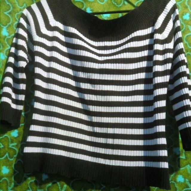 Stripe Knitted Look Blouse