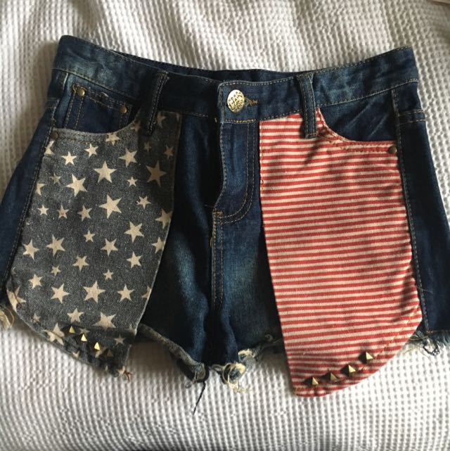 Studded American Flag Denim Shorts