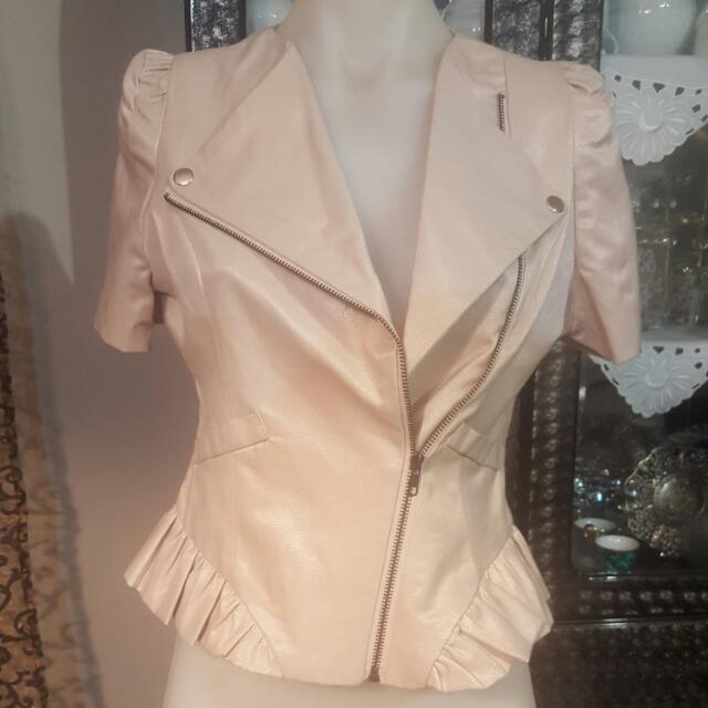 Valley Girl Valleygirl Jacket 10 New Beige Shiny Shimmer Cream Gold