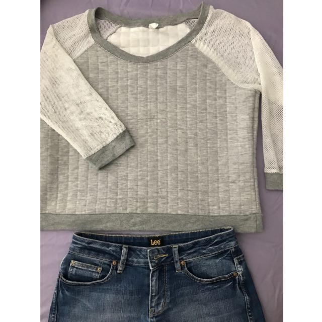 Wide Collar Light Grey Shirt