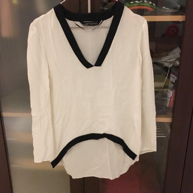 ZARA Blouse White Black Oversize