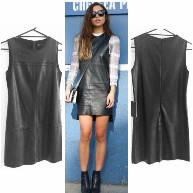 Zara Bnwt Leather Style Shift Dress