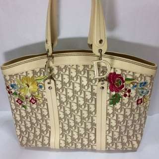 SALE!!! Christian Dior Diorissimo Vintage Flowers Tote Miss Romantic Floral Bag