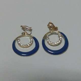 水鑽藍色耳環-夾式