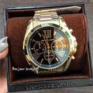 🇺🇸 MICHAEL KORS 羅馬三眼黑金時尚腕錶 手錶 MK5739