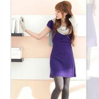 【Reiko ladies】全新 名媛氣質款 蝴蝶結毛尼洋裝(紫)