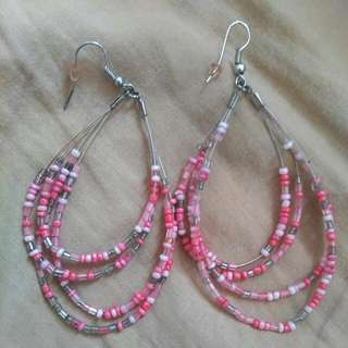 Earrings With Pink Beads