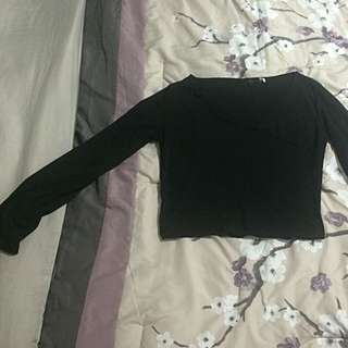 Large Black V Neck Long Sleeve Crop Top
