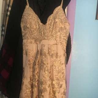 MIDI Gold Lacey Dress