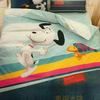 🍃史努比 卡通兩用被床包組