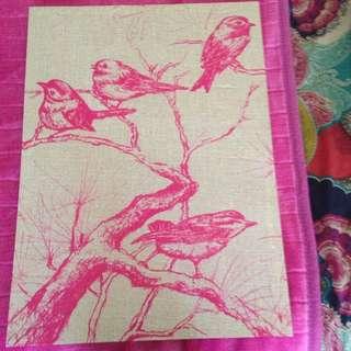 Bird Pink Canvas Print Art Typo