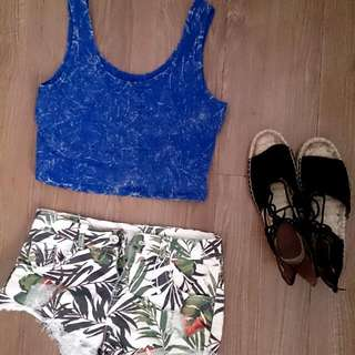 Blue sleeveless Crop Top