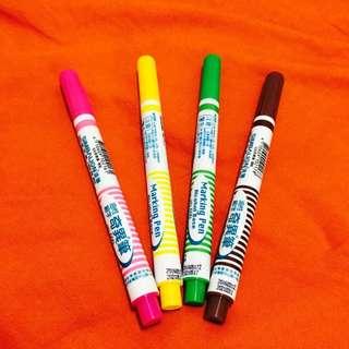 雄獅油性細字奇異筆(粉紅、黃、綠、咖啡)