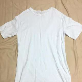 韓國長版白色素色上衣