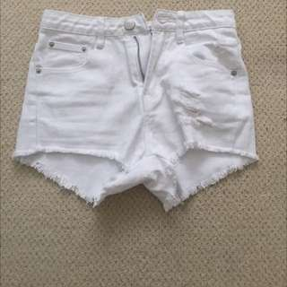 The Rockn Rev White Ripped Off Denim Shorts