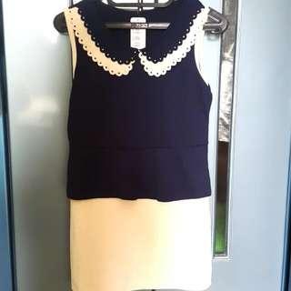 Collar Two-tone Dress