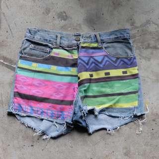 Aztec Distressed Shorts
