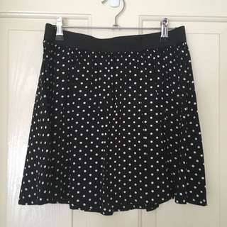 Black And White Polkadot Mini Skirt