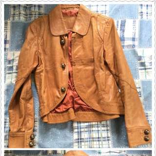 Real Leather Curve Hem Jacket