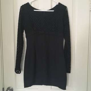 Vintage Black Long Sleeved Mini Dress