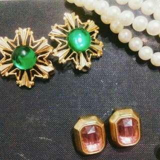 復古夾式古董耳環