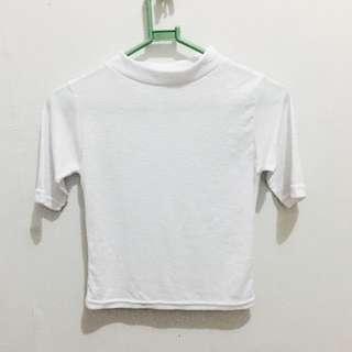 White Turtle Neck Or Mock Neck 3/4 Shirt