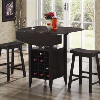 Elegant Drop Leaf Pub Table 3-Piece Set