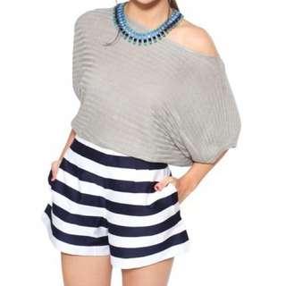 Love Bonito Lb Navy Striped Shorts (XS)