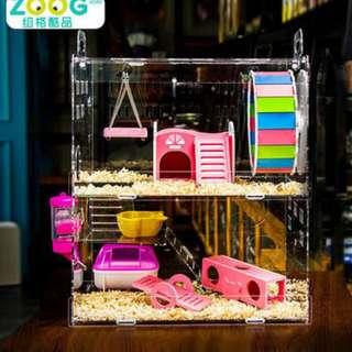 ZOOG倉鼠籠子亞克力透明別墅套餐超大金絲熊籠子豪華雙層三層