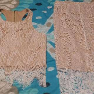 Two Piece Lace Nude/white Outfit
