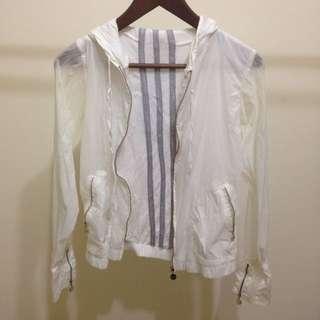 米白色雙層運動外套