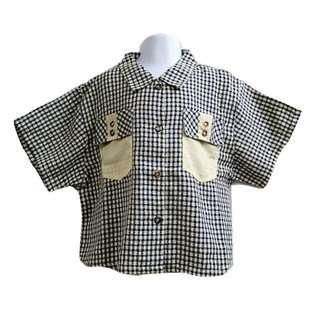 彬彬有禮星星滿版格紋學院風格襯衫男童襯衫優質童裝【全新原價1280元男童襯衫12號】
