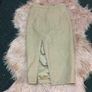 Nude Leather Pencil Skirt Bardot Size 6