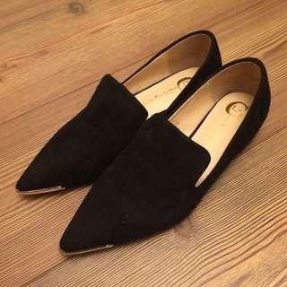 全新 女裝 平底鞋 麂皮 黑色 Black Suede Flat