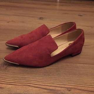 全新 女裝 酒紅 麂皮 平底鞋 Suede Flat