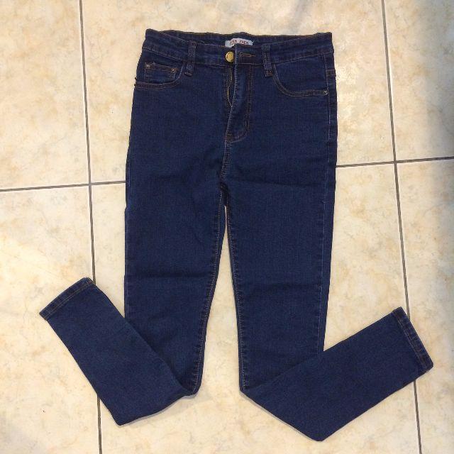 深藍色顯瘦長褲